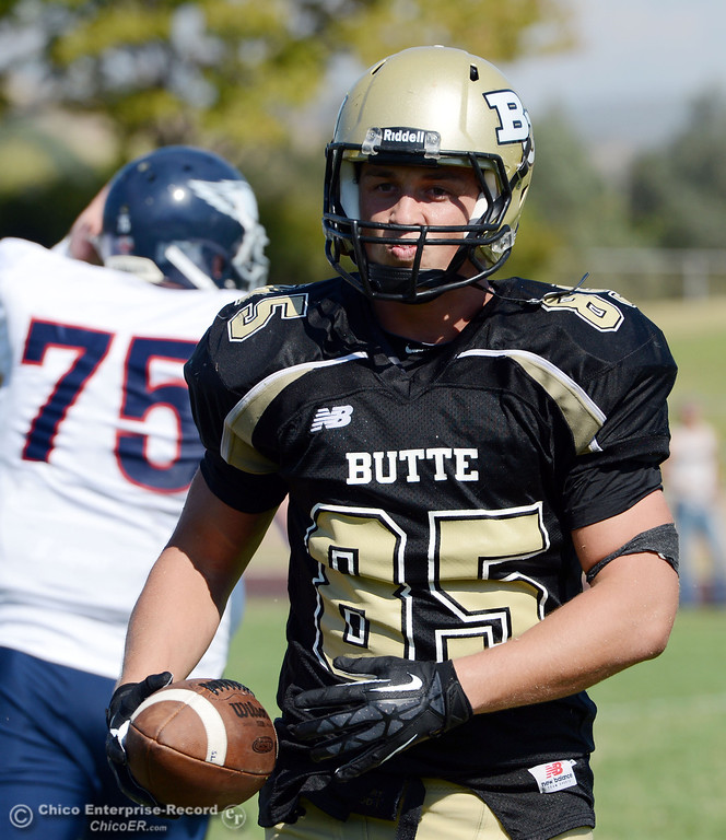 . Butte College\'s #85 Richard Murphy reacts to a flag on a play against College of the Siskiyous in the third quarter of their football game at Butte\'s Cowan Stadium on Saturday, September 14, 2013, in Oroville, Calif. (Jason Halley/Chico Enterprise-Record)
