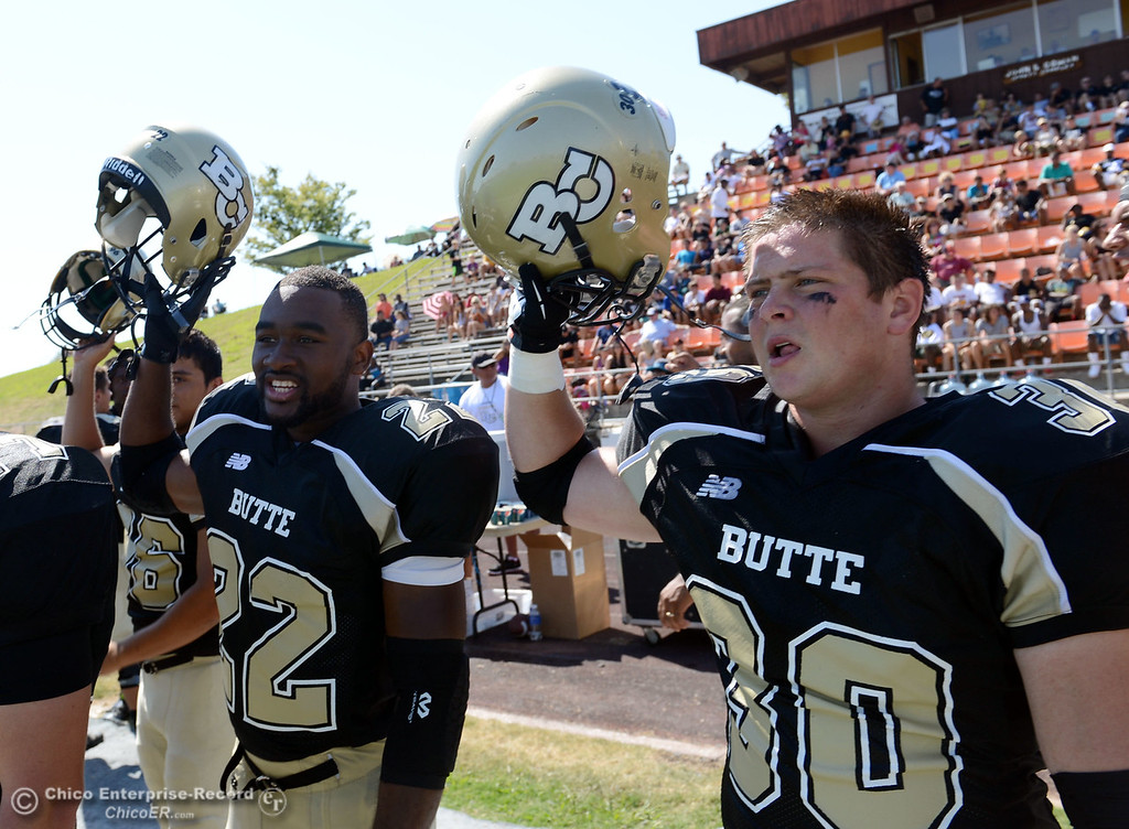 . Butte College\'s #22 Quinta Thomas (left) and #30 Eric DeLucchi (right) prepare for kickoff against College of the Siskiyous in the second quarter of their football game at Butte\'s Cowan Stadium on Saturday, September 14, 2013, in Oroville, Calif. (Jason Halley/Chico Enterprise-Record)