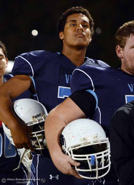 . Pleasant Valley High\'s #78 Alex Marquez looks on against Foothill High in the first quarter of their football game at PVHS Asgard Yard Friday, October 11, 2013 in Chico, Calif.  (Jason Halley/Chico Enterprise-Record)