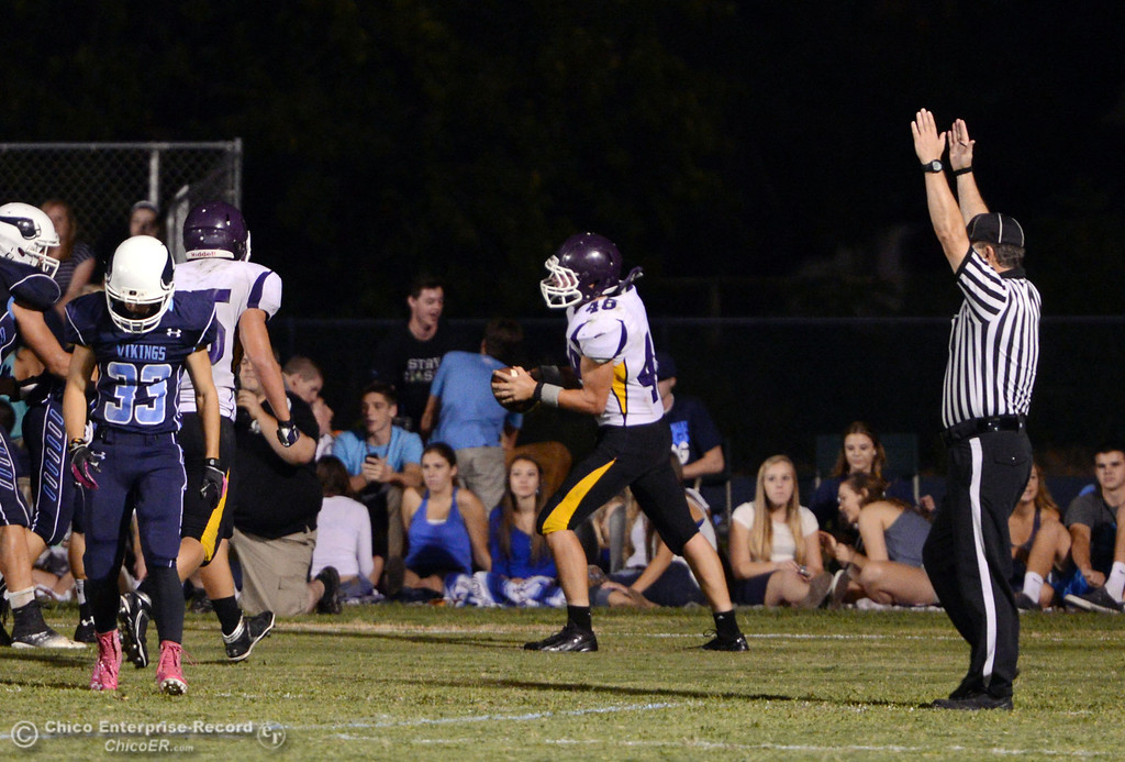 . Pleasant Valley High against Lassen High\'s #48 Kyle Barnetche scores a touchdown in the third quarter of their football game at PVHS Asgard Yard Friday, September 6, 2013 in Chico, Calif. (Jason Halley/Chico Enterprise-Record)