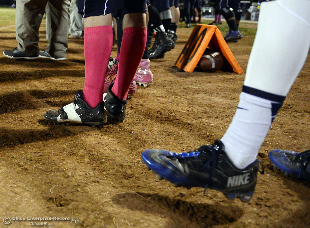 . Pleasant Valley High wore pink for breast cancer awareness in their football game against Shasta High at PVHS Asgard Yard Friday, October 18, 2013 in Chico, Calif.  (Jason Halley/Chico Enterprise-Record)