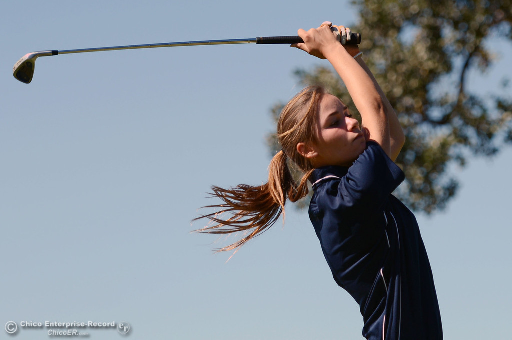 . Pleasant Valley High\'s Alison Jacobson plays in the EAL girls golf match at Bidwell Golf Course Thursday, October 3, 2013, in Chico, Calif.  (Jason Halley/Chico Enterprise-Record)