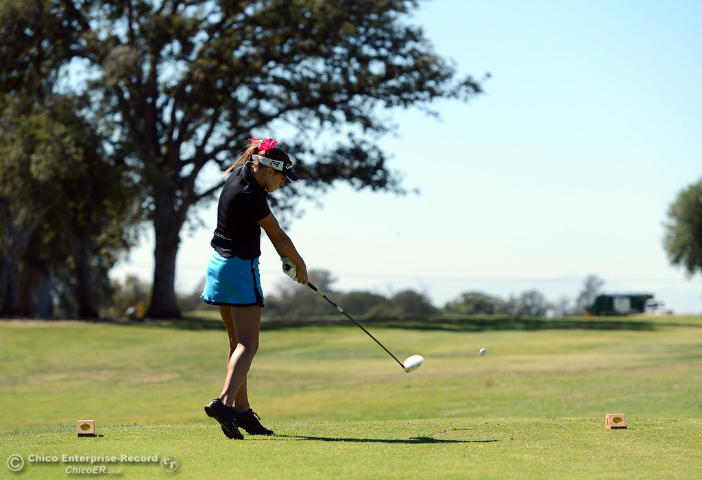 . Pleasant Valley\'s Julia Peters plays in the EAL girls golf match at Bidwell Golf Course Thursday, October 3, 2013, in Chico, Calif.  (Jason Halley/Chico Enterprise-Record)