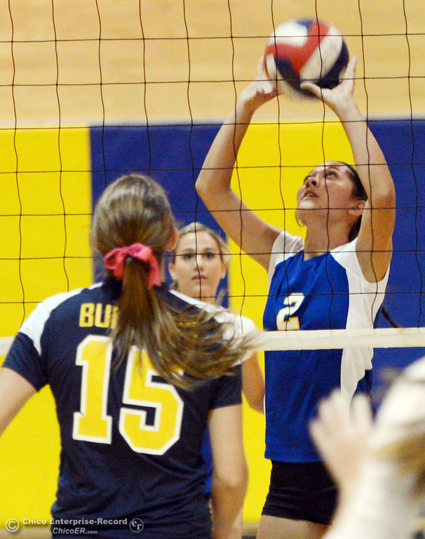 . Hamilton High\'s #2 Raegan Avrit (right) sets the ball against Gridley High\'s #15 Kaelin Rice (left) in their first game of their volleyball match Thursday, August 29, 2013 in Chico, Calif.  (Jason Halley/Chico Enterprise-Record)