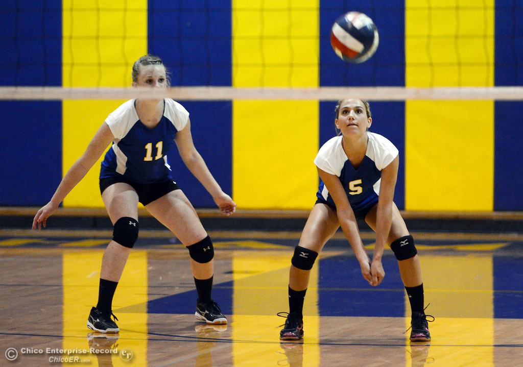 . Hamilton High\'s #11 Jamie Engel (left) watches #5 Alisyn Silveira (right) take a dig against Gridley High in their first game of their volleyball match Thursday, August 29, 2013 in Chico, Calif.  (Jason Halley/Chico Enterprise-Record)