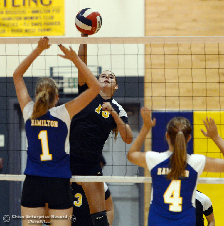 . Gridley High\'s #15 Kaelin Rice (center) spikes against Hamilton High\'s #1 Nicole Gordon (left) and #4 Justine McCorkle (right) in their second game of their volleyball match Thursday, August 29, 2013 in Chico, Calif.  (Jason Halley/Chico Enterprise-Record)