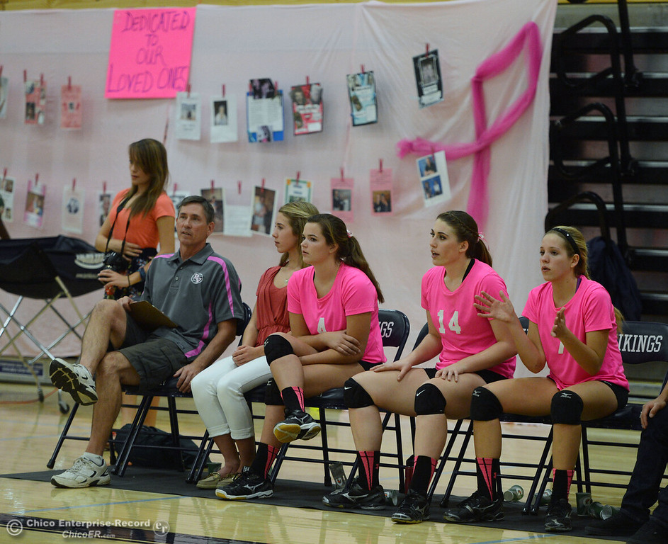 ". Pleasant Valley High against Paradise High in the second game of their volleyball match at PVHS Varley Gym Thursday, October 17, 2013 in Chico, Calif. PV volleyball wore pink instead of blue vs Paradise at ""Fight Like a Viking Night,\"" to raise money for cancer research. (Jason Halley/Chico Enterprise-Record)"